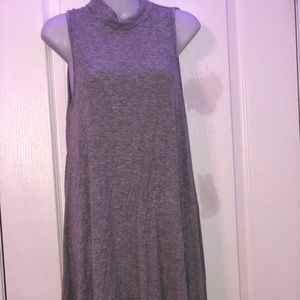 Neck high, grey flowing dress